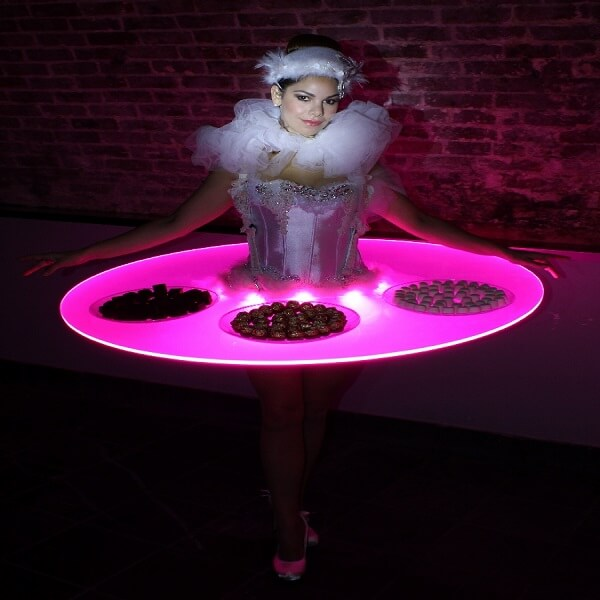 Human canape trays hire book canape table hostesses for Human canape trays