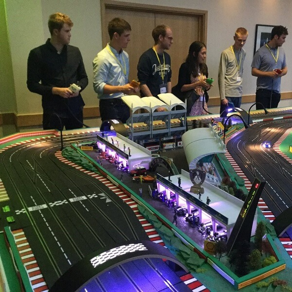 Giant Scalextric (Wacky Races Changing Lane Tracks)